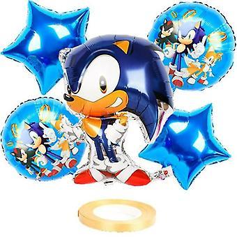 (Kolor:Srebrny) Sonic The Hedgehog Balloon Set Urodziny Kreskówka Balon Kids Party Home Decor