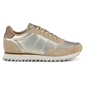Woden Champagne Nora 111 Metallic Lace Up Trainers