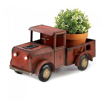Summerfield Terrace Metal Red Truck Planter with Solar-Powered Headlights, Pack of 1