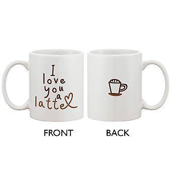 Lustige und niedliche Keramik Kaffeebecher - Ich liebe dich einen Latte 11oz Kaffee Becher Tasse