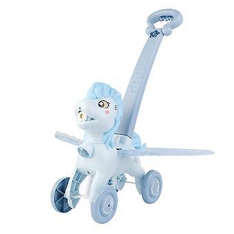 Maker Trolley Bubble Machine Children Outdoor Music Light Toy High Quality Cartoon Hand(Blue)