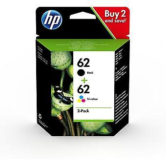HP 62 2-pack svart/trefärg original bläckpatron, Hög (XL) avkastning, Pigment