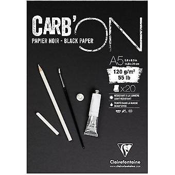 Clairefontaine Carb'ON Multi Techniques Black Paper Pad 120gsm - Sizes Listed