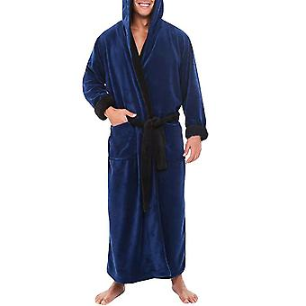 Bărbați Long Dressing rochie Fleece Hooded Bath Robe Sleepwear