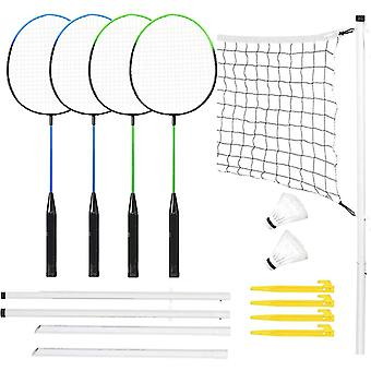 Complete 4 Player Badminton Set With Rackets Poles & Net Shuttlecock Outdoor Garden Family Fun Beach Park Sport Game, Includes Carry Bag