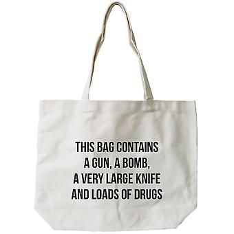 Women's Reusable Canvas Bag- Funny 'Dangerous' Natural Canvas Tote Bag