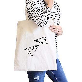 Paper Airplane Natural Canvas Bag Cute Graphic Printed Eco Bags