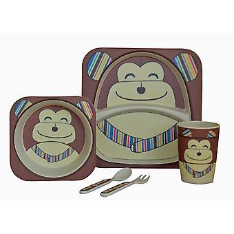 Przejdź mój mały Lunch 5 kawałek bambusa zestaw obiadowy, szympans
