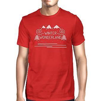 Winter Wonderland Mens Dark Red Crewneck T-Shirt Christmas Gifts
