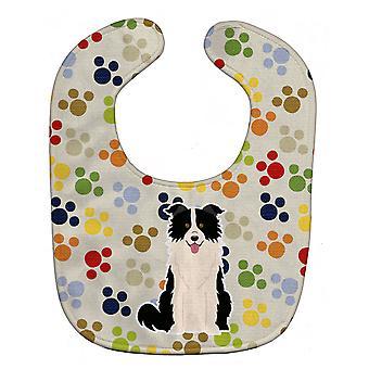 Carolines tesoros BB5947BIB Pawprints frontera Collie negro blanco babero