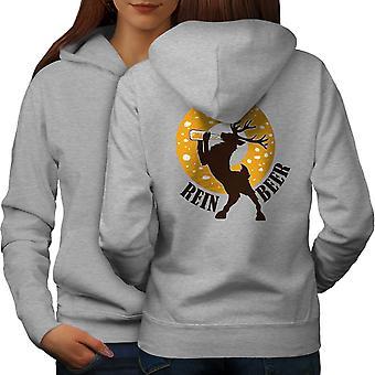Deer Beer Funy Women GreyHoodie Back | Wellcoda