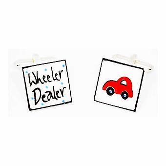 Red Wheeler Dealer Cufflinks by Sonia Spencer, in Presentation Gift Box. Car Dealer, Antique Dealer