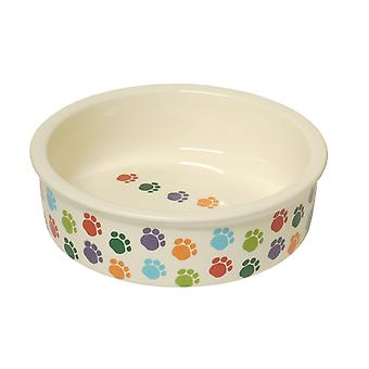 Pet Brands Paw Print Ceramic Dog Dish