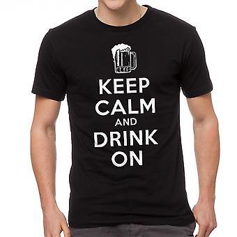 Humor halten Sie ruhig trinken auf schwarzen T-Shirts für Herren
