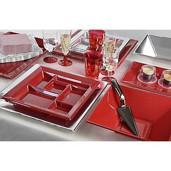 Utensílios de mesa de festa para 8 convidados 110-teilig festa festa prata vermelho pacote