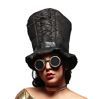 Gothic Corset Trim Tall Soft Steampunk Hat & Googles Set