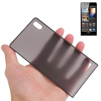 Overdækning sag ultra tynde 0,3 mm for mobile Huawei Ascend P6 sort gennemsigtig