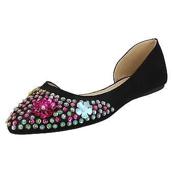 370b22d277a Ladies Spot On Sequin Ballerinas - Black Textile - UK Size 7 - EU Size 40