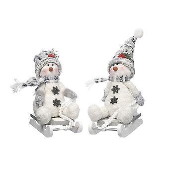 Festive Productions 25cm Grey Snowman on Sledge Christmas Xmas Decoration