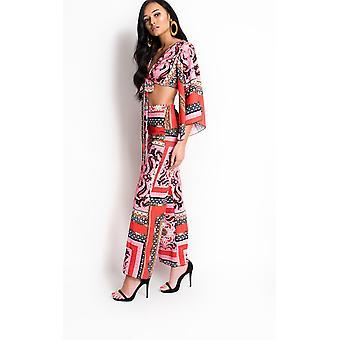 IKRUSH Womens Sellis Paisley Print Tie Crop Top