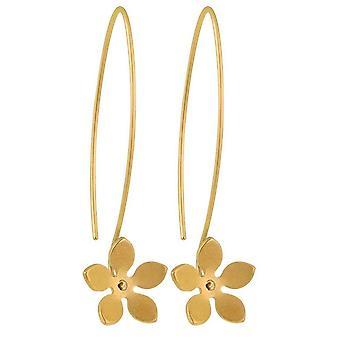 TI2 Titanium 13mm fünf Blütenblatt Blüte Drop Ohrringe - Tan Beige