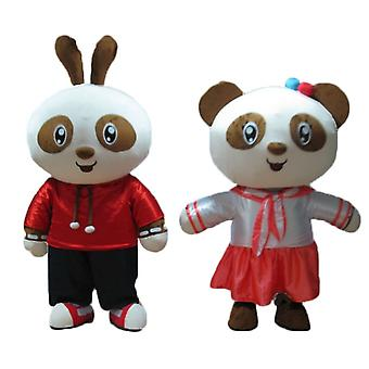 2 mascot SPOTSOUNDs, a rabbit and a panda, Brown and white, smiling