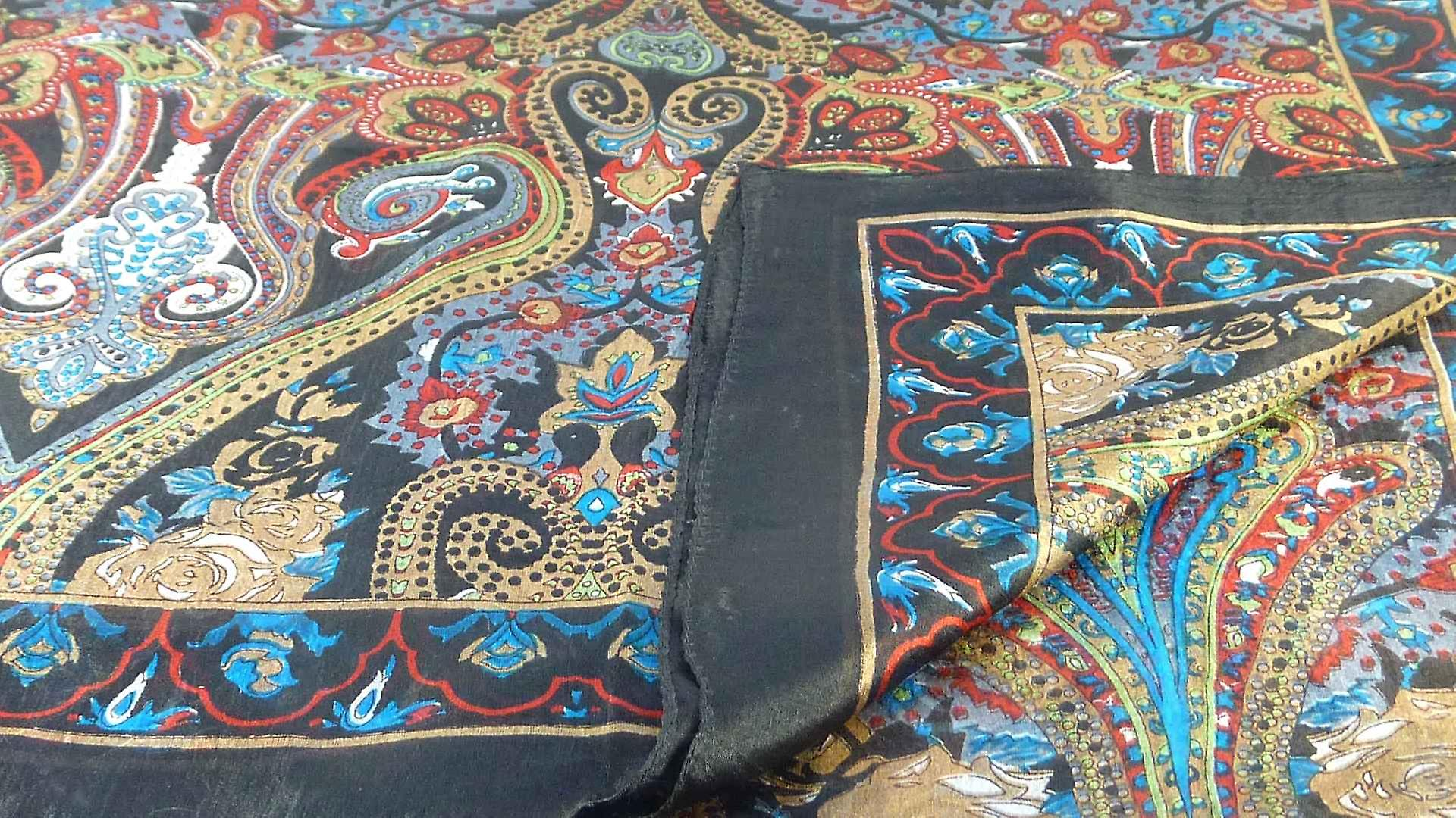 Mulberry Silk Traditional Long Scarf Godavary Black by Pashmina & Silk