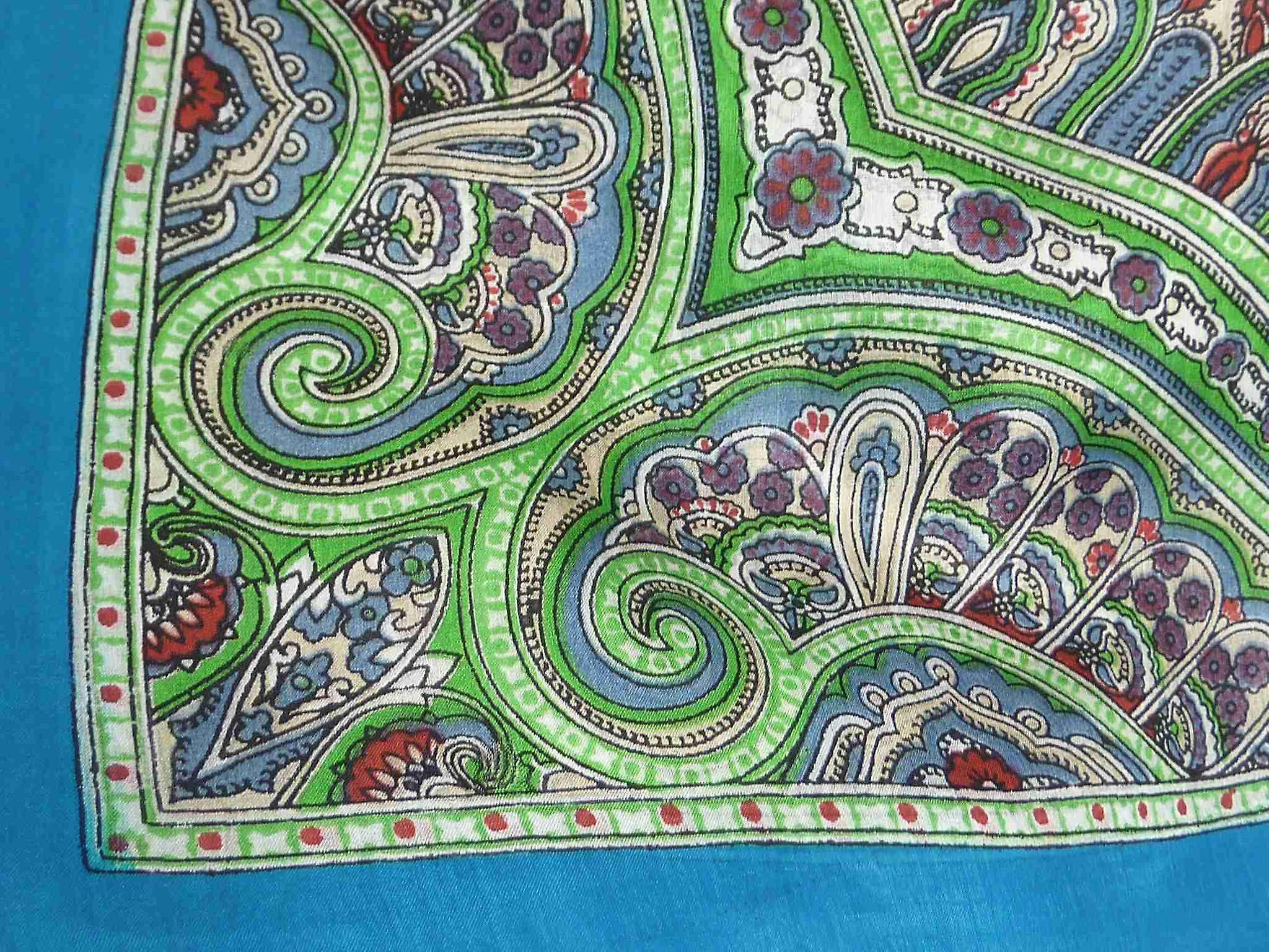 Mulberry Silk Traditional Square Scarf Aylin Light Blue by Pashmina & Silk