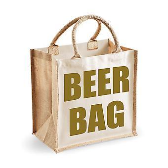 Medium Natural GoldJute Bag Beer Bag