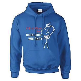 Mens jag skulle hellre vara dricka Whiskey Hoodie Royal blå Hoody