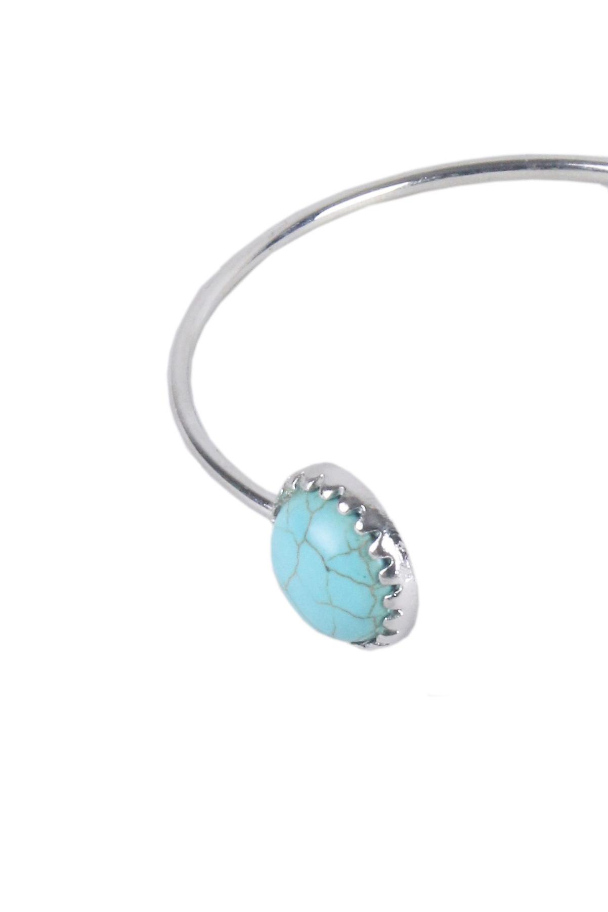 Lovemystyle Silver Bangle With Turquoise Stone And Moon Design