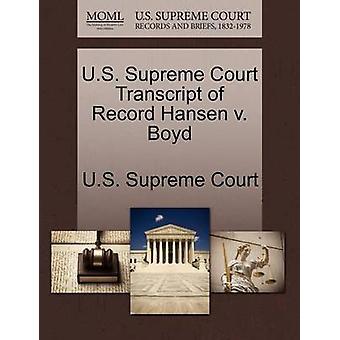 US Supreme Court avskrift av rekord Hansen v. Boyd av US Supreme Court