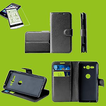 For Samsung Galaxy M20 6.3 inch Pocket wallet premium black protective sleeve case cover pouch + 0, 26mm H9 2.5 hard glass