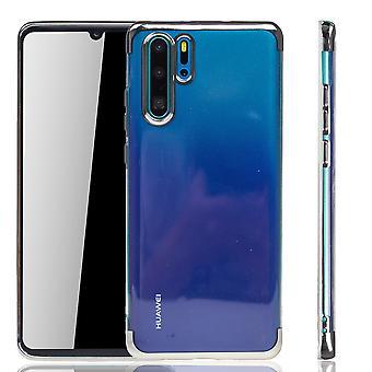 Étui de téléphone pour Huawei, étui de protection en silicone argent-Clear-TPU coque backcover en transparent/brillant bord argent