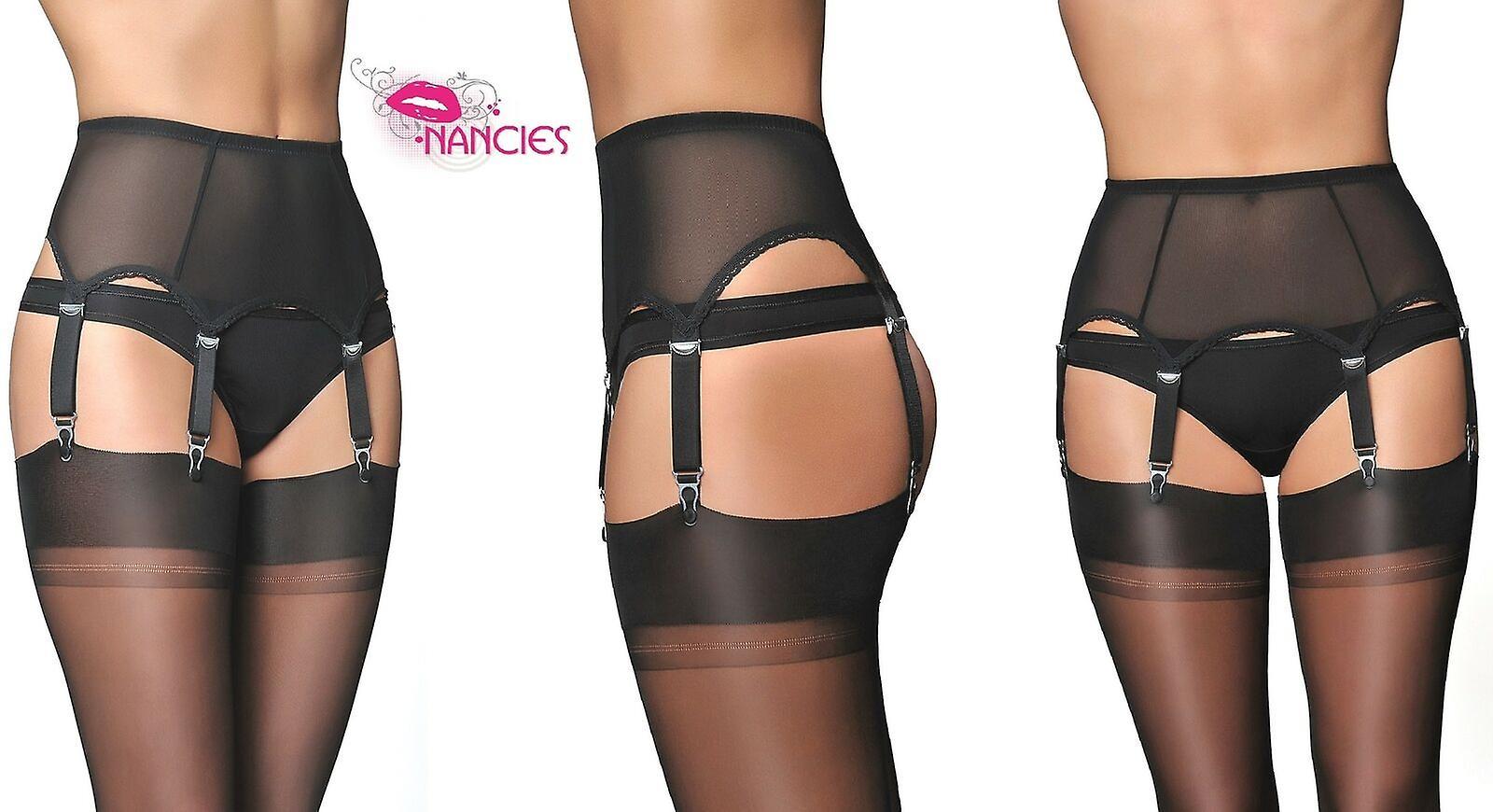 Black Power Mesh Suspender belt with FREE Stockings