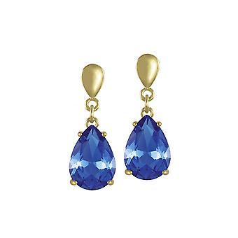Eternal Collection viettely Teardrop safiiri sininen kristalli kulta sävy Drop Clip korva korut