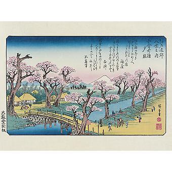 Hiroshige Kunstdruck Evening Glow At Koganei Border Papier 250 gr. matt Kleinformat 30 x 40 cm