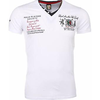 E T-shirt - Short Sleeves - Embroidery Polo Players - White