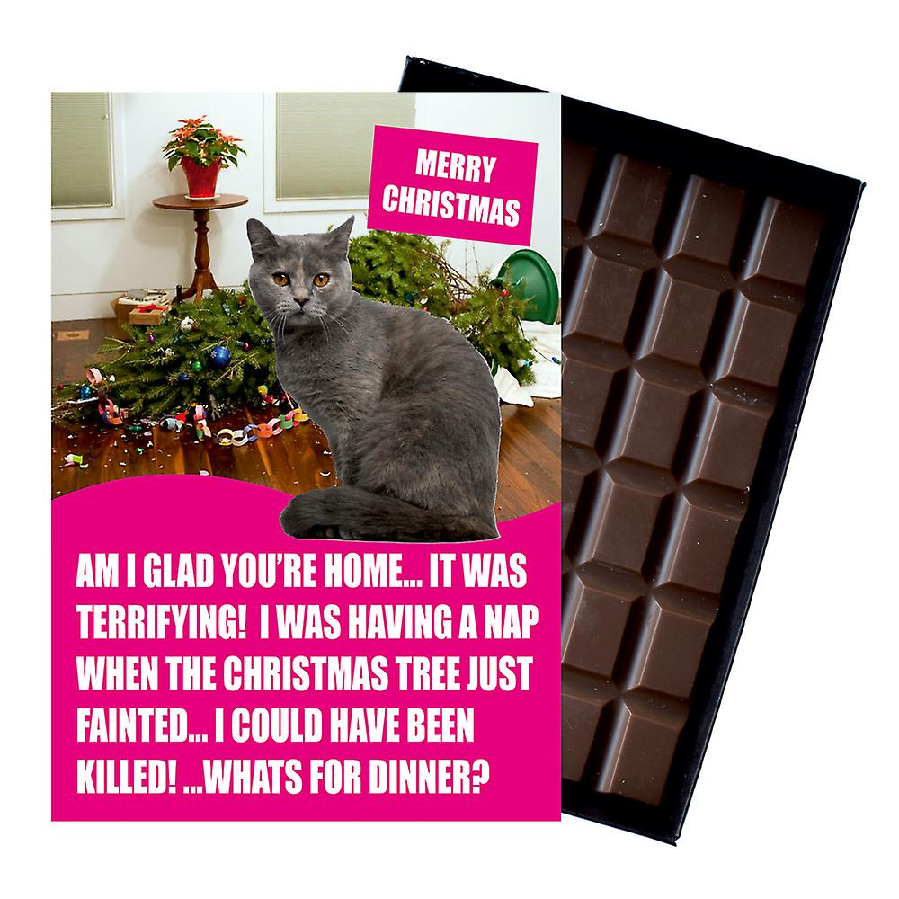 Grey Cartreux Cat Christmas Gifts Funny Xmas Presents for Cat Lovers Boxed Chocolate Card