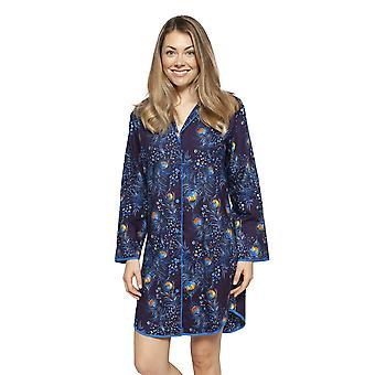 Cyberjammies 4230 vrouwen ' s Sophie Ink Blue mix Peacock feather print katoenen Nachthemd