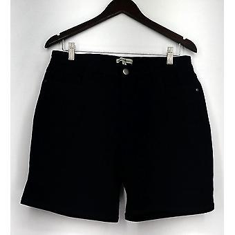 One World Zip & Button Stretch Five Pocket Shorts Blue Womens A432385