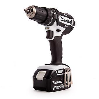 Makita DHP482RTWJ 18v Combi Drill in White 2x 5.0ah Batteries