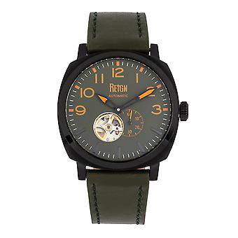 Reign Napoleon Automatic Semi-Skeleton Leather-Band Watch - Black/Green