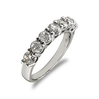 Jewelco London Ladies Solid 9ct White Gold White Round Brilliant Cubic Zirconia 7 Stone Eternity Ring