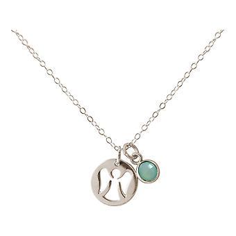 Gemshine Halskette Anhänger Schutzengel 925 Silber oder vergoldet Chalcedon