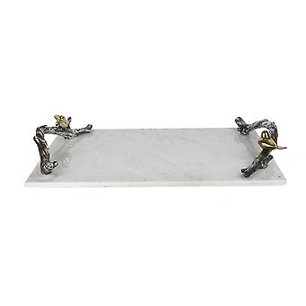 Rectangular marble tray with birds sitting on polyresin vine handles, white and silver