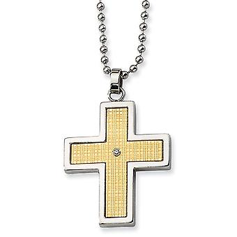 Stainless Steel Polished Engravable Fancy Lobster Closure 14k Diamond Accent Religious Faith Cross Necklace 22 Inch Jewe