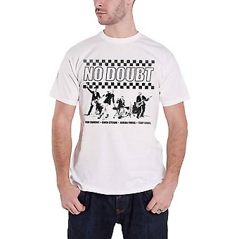 No Doubt T Shirt Chequer Distressed Band Logo Gwen Stefani Official Mens White