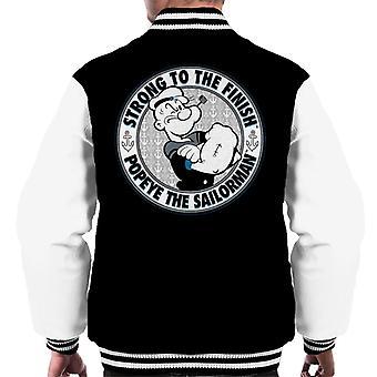 Popeye The Sailorman Strong To The Finish Light Text Men's Varsity Jacket