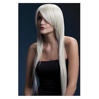 Feber Amber Wig, Blonde, lange Straight med fjær Fringe, 71cm/28 i Fancy kjole tilbehør